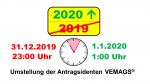 1. Januar 2020: Wartung der Anwendung VEMAGS erfolgt