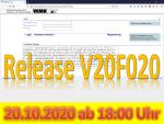20. Oktober 2020: Release V20F020 wird ab 18:00 Uhr eingespielt